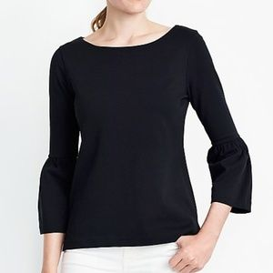NWT J CREW Bell-sleeve Cotton T-shirt Black Small